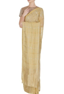 vanilla-hand-woven-linen-saree-with-unstitched-blouse