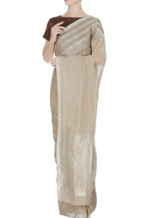 beige-linen-hand-woven-saree-with-silver-border-unstitched-blouse