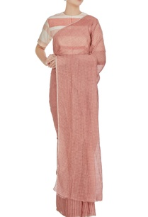 pink-stripe-check-patterned-linen-hand-woven-saree-with-unstitched-blouse