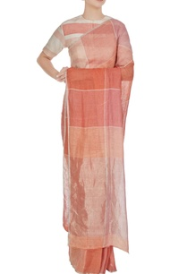 salmon-pink-peach-gingham-hand-woven-linen-check-saree-with-unstitched-blouse
