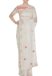 white-floral-cross-stitch-hand-woven-linen-sari-with-unstitched-blouse