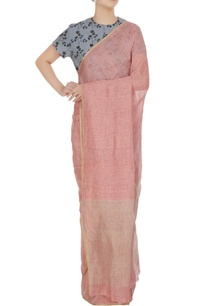 pink-linen-hand-woven-linen-sari-with-unstitched-blouse
