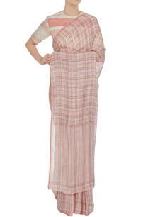 pink-check-patterned-linen-hand-woven-saree-with-unstitched-blouse