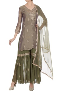 teal-green-kattan-georgette-embroidered-short-kurta-with-olive-green-gharara-olive-green-dupatta