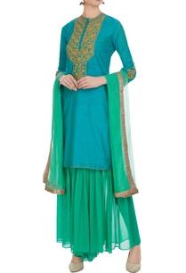 blue-chanderi-embroidered-kurta-with-green-chanderi-gharara-dupatta