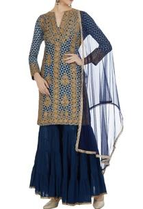 blue-cotton-embellished-knee-length-kurta-with-royal-blue-gharara-dupatta