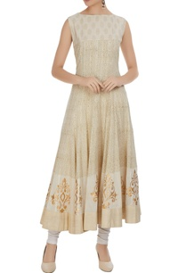 beige-slub-cotton-golden-work-anarkali-kurta