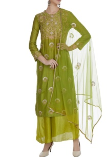 green-cotton-embroidered-long-kurta-with-chanderi-palazzos-dupatta