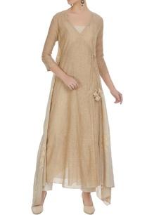 light-brown-cotton-embroidered-asymmetric-kurta