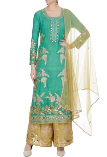 teal-blue-embroidered-long-kurta-with-golden-palazzos-dupatta