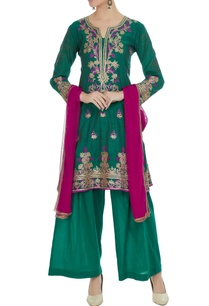 teal-green-chanderi-embroidered-kurta-with-palazzos-pink-dupatta