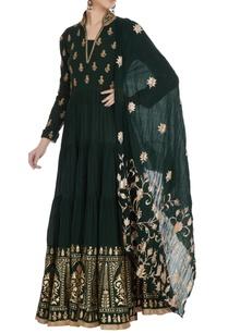 dark-green-gold-printed-embroidered-tiered-kurta