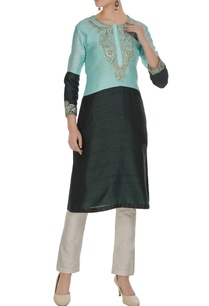 green-turquoise-color-block-embroidered-kurta