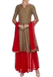 coral-clay-brown-gold-motif-kurta-with-gharara-pants-dupatta