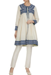 white-blue-hand-printed-tassel-detail-flared-tunic