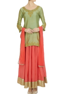 green-coral-cotton-chanderi-kurta-with-flared-skirt-dupatta