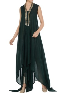 green-flowy-asymmetric-long-kurta