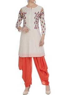 white-orange-chanderi-machine-embroidered-kurta-with-dhoti-pants