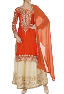 orange-cream-kurta-set-with-machine-embroidery