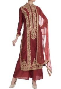 maroon-gota-embroidered-chanderi-kurta-set