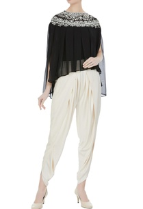 black-georgette-pearl-embroidered-pleated-blouse-with-cream-crepe-dhoti-pants