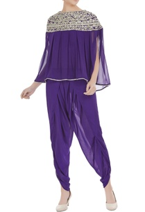 purple-georgette-pearl-embroidered-pleated-blouse-with-purple-crepe-dhoti-pants
