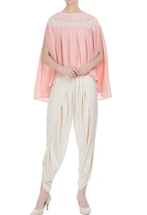 light-pink-georgette-pearl-embroidered-pleated-blouse-with-cream-crepe-dhoti-pants