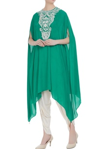 teal-green-georgette-pearl-embroidered-tunic-with-cream-dhoti-pants