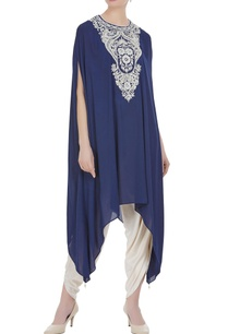 blue-georgette-pearl-embroidered-tunic-with-cream-dhoti-pants