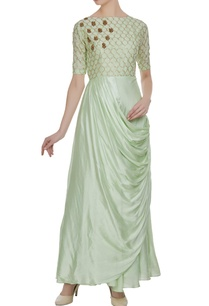 green-silk-zardozi-sequin-pleated-style-long-kurta
