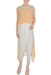 light-peach-georgette-pearl-embroidered-flared-kurta-with-crepe-pants