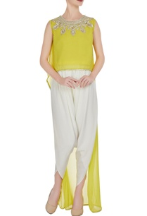 yellow-georgette-gota-embroidered-flared-kurta-with-crepe-pants
