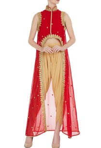 red-georgette-gota-embroidered-fusion-kurta-with-crepe-pants