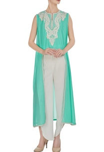 aqua-blue-georgette-pearl-embroidered-flared-kurta-with-crepe-pants