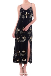 black-palm-tree-motif-slip-dress-with-thigh-high-slit
