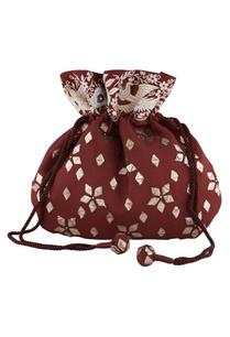 maroon-silk-mukaish-parsi-gara-hand-embroidered-potli