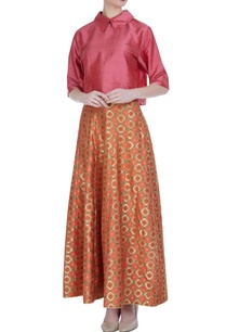 brocade-silk-blouse-with-multicoloured-maxi-skirt