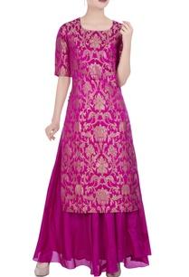 floral-brocade-silk-kurta-with-maxi-skirt