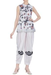 floral-printed-short-kurta-dhoti-set