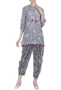 multiprinted-short-tassel-kurta-with-dhoti-pants