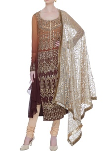 shaded-brown-flat-chiffon-resham-gold-work-tunic-with-beige-churidar-dupatta