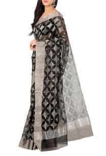 black-silver-floral-motif-chanderi-sari