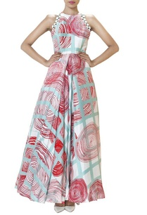 ivory-swirl-printed-pleated-gown