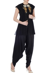 black-raw-silk-solid-blouse-with-dhoti-pants-embroidered-jacket