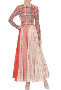 multi-colored-checkered-print-long-anarkali-tunic-with-white-cigarette-pants