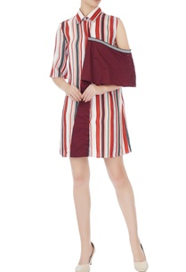 maroon-polyester-striped-drop-shoulder-shirt-dress