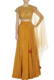 mustard-yellow-crepe-silk-lehenga-set