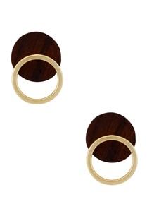 wood-metal-gold-stud-earrings