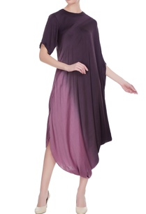 purple-satin-draped-cowl-hemline-dress
