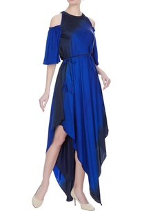royal-blue-navy-blue-satin-handkerchief-hemline-cold-shoulder-dress